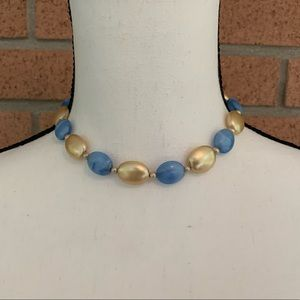 Vintage beaded blue gold necklace silver clasp